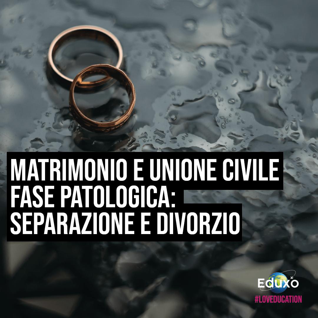 You are currently viewing MATRIMONIO E UNIONE CIVILE. FASE PATOLOGICA: SEPARAZIONE E DIVORZIO